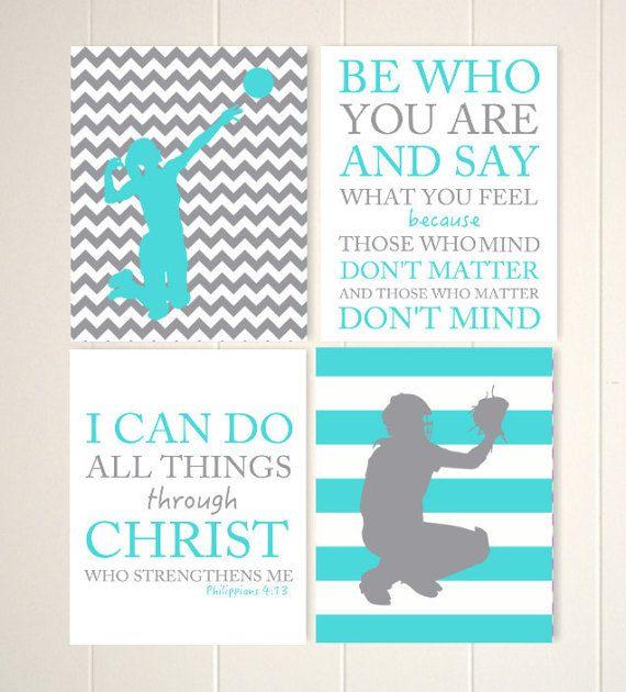 Inspirational quotes for children, motivational girls art, softball art, softball catcher, volleyball girl, teen girls art, set of 4 prints by PicabooArtStudio