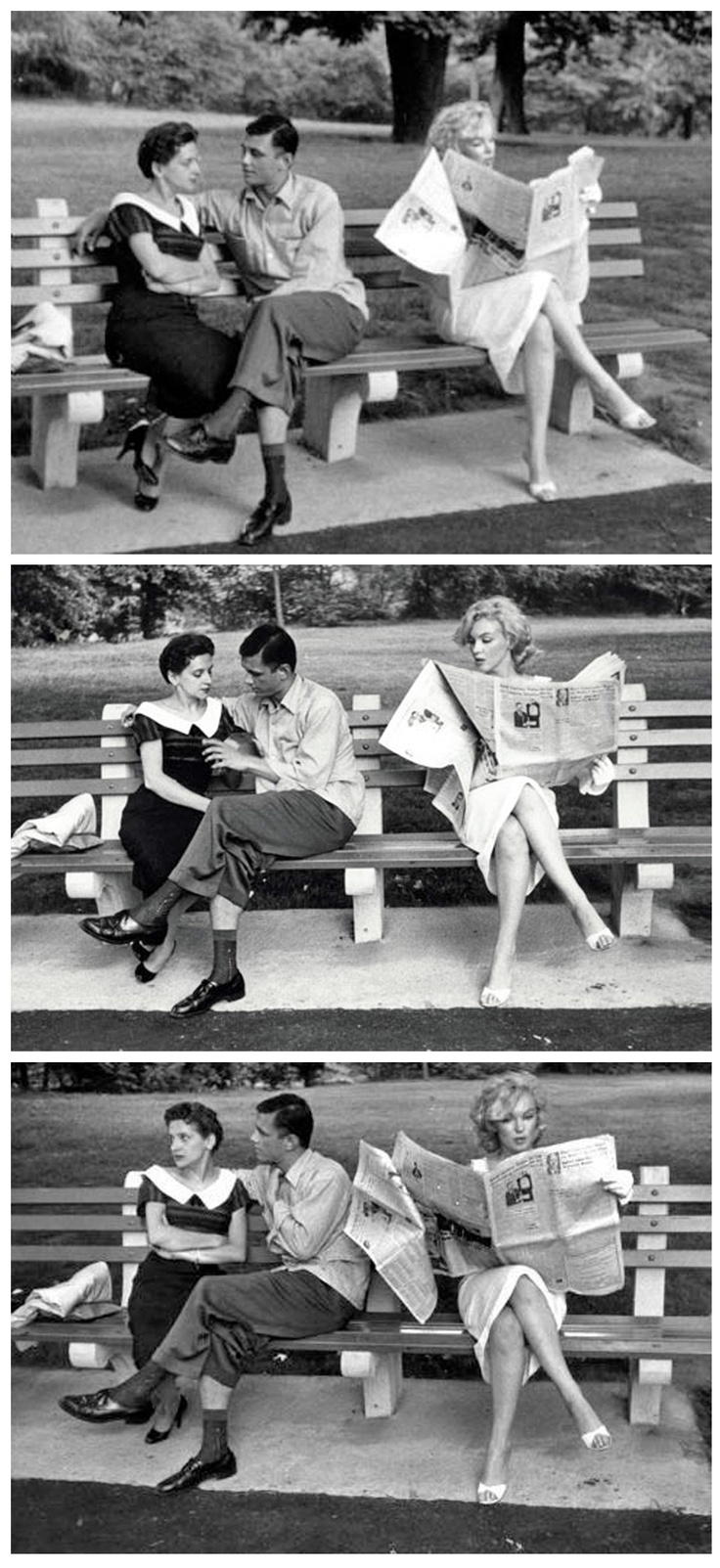 Marilyn Monroe ♥ Reading in Central Park, 1957. Photos by Sam Shaw.