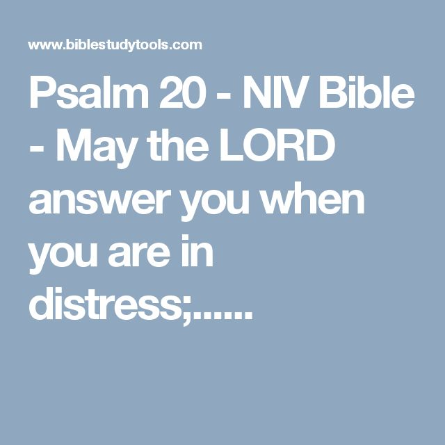 Psalm 20 - NIV Bible - May the LORD answer you when you are in distress;......