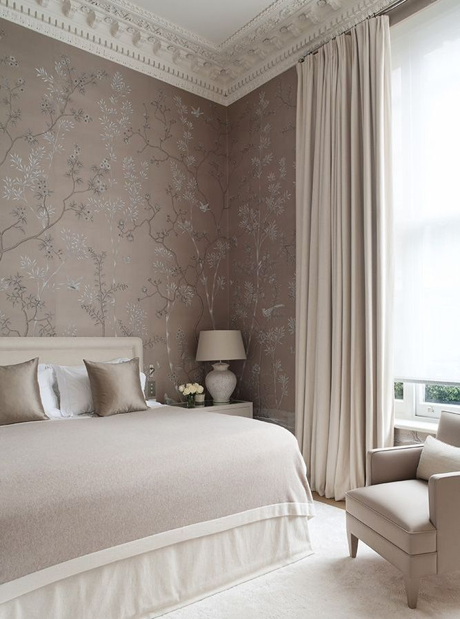 neo classic wallpapered bedroom in muted tones