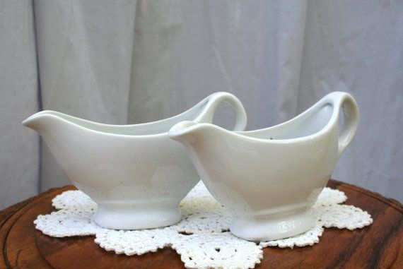 Two White Ironstone Gravy Pitchers / Boats / by sixpencebluemoon