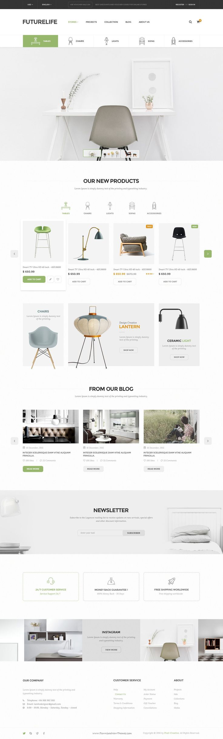 Futurelife – Ecommerce PSD Template is a uniquely eCommerce #website template designed in Photoshop with a modern look. Perfect for #furniture or interior shop. #Ecommerce