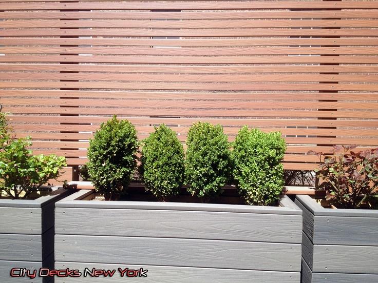Fiberon Gray Composite Planter Box Amp Thin Slat Fence In