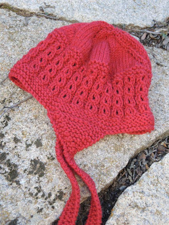 Red toddler wool hat. Child Aviator hat. Toddler ear flap hat. Modern child bonnet. Handknit wool alpaca hat. Cozy toddler woolen hat.