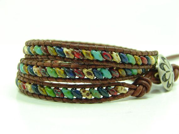 Multicolored Super Duo Beads Leather Wrap Bracelet by jlktreasures. Lovely idea for superduos.