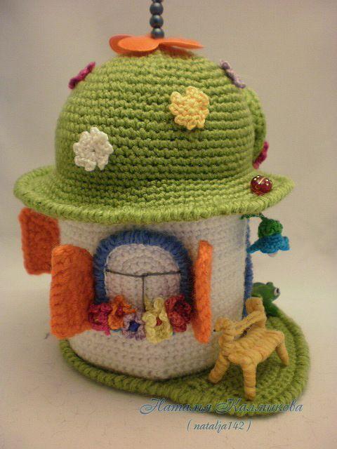 Crochet flower house Free pattern in russian Very pretty