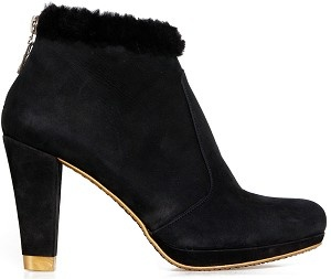 Boot ankle city black fur
