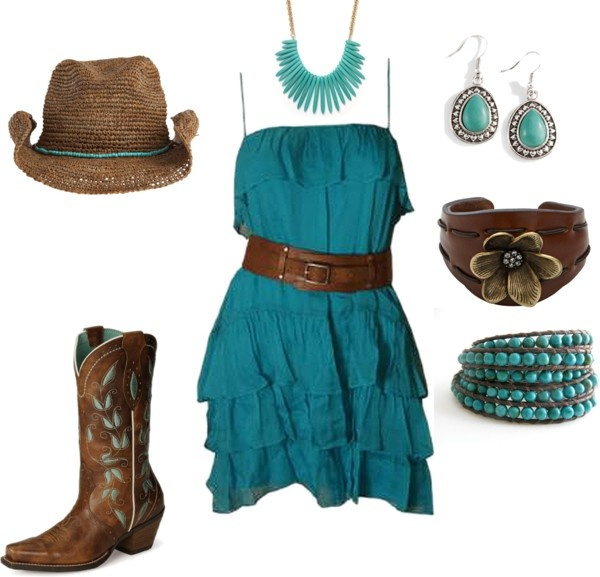 Love this outfit #Repin By:Pinterest++ for iPad#: Country Chick, Country Style, Dark Brown Boots, Teal Dresses, Country Girls, Brown Belts, Cowgirl Dresses, Polyvore, Country Outfits