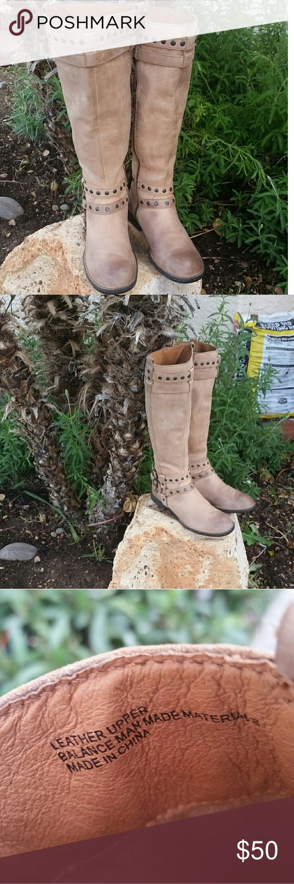 BORN TAN LEATHER  BOOTS COWBOYS Beautiful tan  leather boots thigh high boots cowboy boots straps buckles winter boots hipster excellent condition Born Shoes Combat & Moto Boots