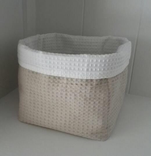 Opberg-mandje/ commode-mandje dubbel Wafel in  beige/zand 'Light stone' en wit 'Pure white'