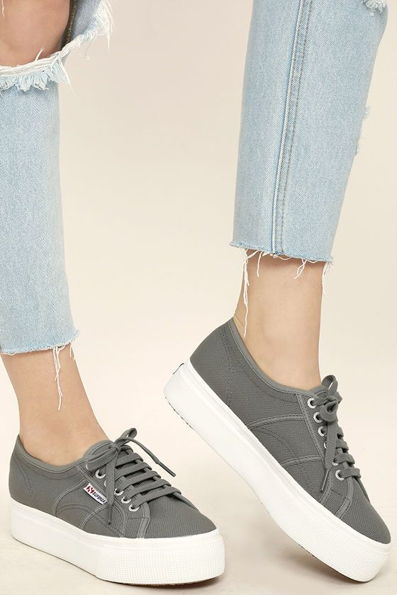 """Your '90s dreams have become a reality with the Superga 2790 ACOTW Grey Sage Platform Sneakers! These canvas cuties have a lace-up upper, and 1.5"""" white platform sole."""