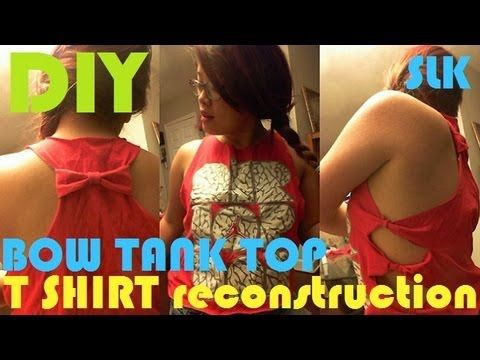 DIY T SHIRT RECONSTRUCTION | BOW TANK TOP | UPCYCLE | NO SEW