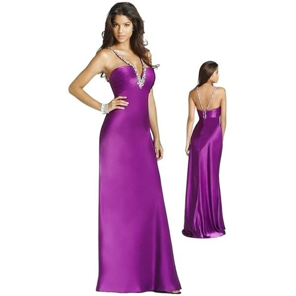 Blush Pre-owned Blush Purple S220 Dress ($135) ❤ liked on Polyvore featuring dresses, purple, formal wear dresses, long dresses, beaded dress, formal dresses and long cocktail dresses