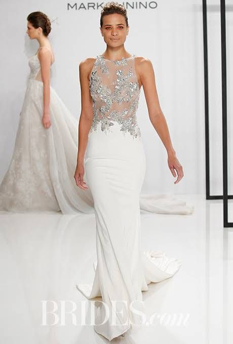 Dream Dress Brides Mark Zunino For Kleinfeld Fall Style Silk Crepe Wedding With Illusion Bodice And Crystal Liqués