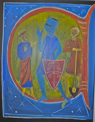 Waldorf ~ 6th grade ~ Medieval History ~ The 3-Fold Society of the Middle Ages: Those that pray, those that protect, and those that provide ~ chalkboard drawing