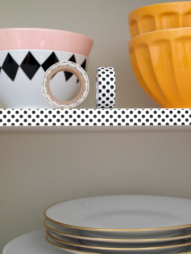 Use washi tape to decorate your kitchen cabinets.