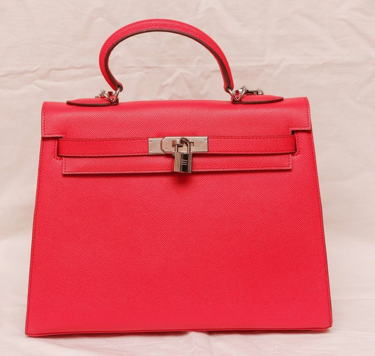 Сумка Hermes kelly из твердой держащей форму натуральной кожи Epsom, красно-розовый цвет с серебряной фурнитурой
