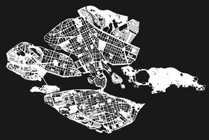 A graphic map over Stockholm by Rebecka Bebben Andersson. See the series of 3 black and white artworks on arrivals.se