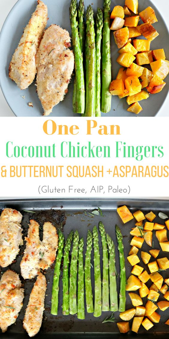 One Pan Baked Coconut Chicken Fingers with Butternut Squash and Asparagus (AIP, Gluten Free) — Living Naturally Autoimmune
