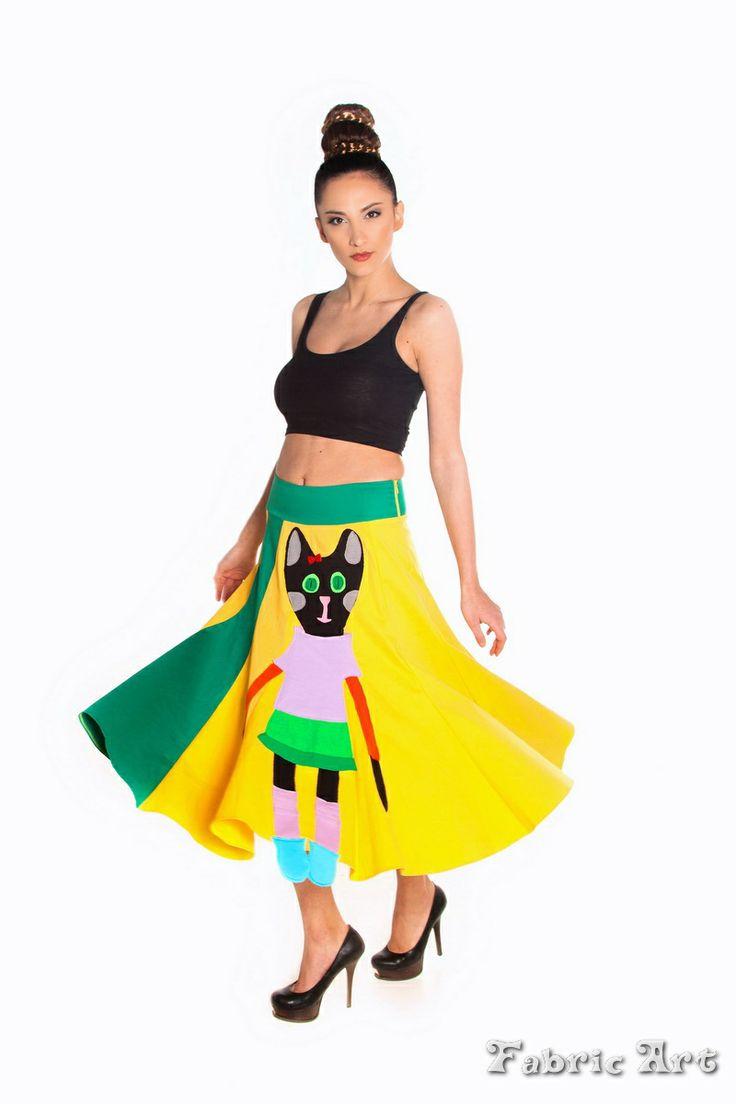 "Full circle hem midi contrast skirt with handmade applique ""Doll Cat"""