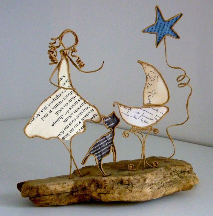 Maman heureuse - figurines en ficelle et papier