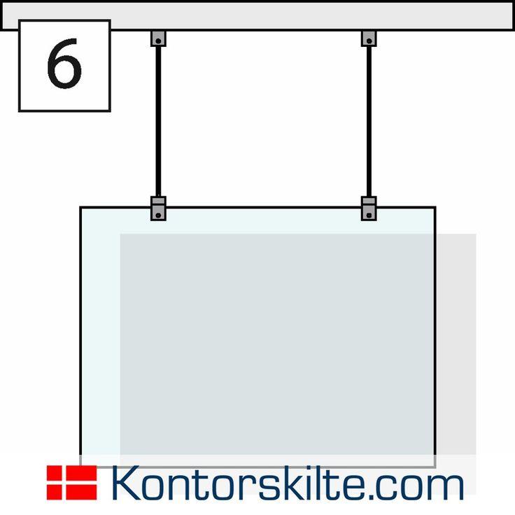 Montagekit med wire til skilte der hænger ned fra loftet. (Nedhængte skilte) For mere information, besøg www.kontorskilte.com