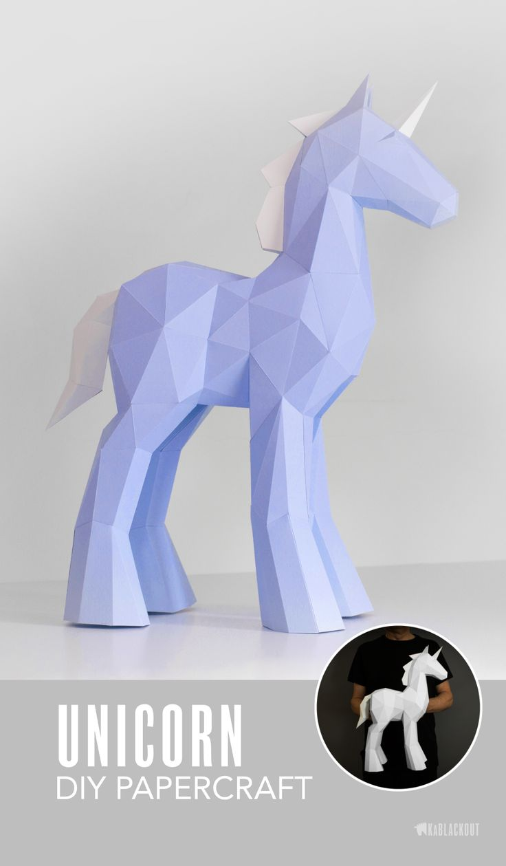 Unicorn Papercraft Template.  Unicorn Decor -  Make your own paper unicorn using this diy template. Low poly unicorn paper craft project from KaBlackout