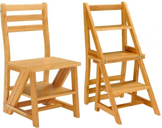 17 mejores ideas sobre sillas de madera plegables en for Silla convertible en escalera