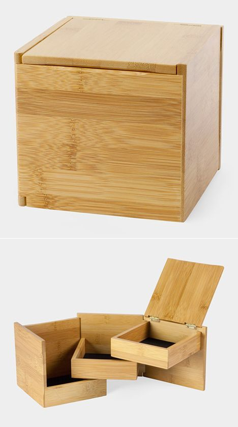 "Lawrence Chu's Tuck storage box. The  bamboo box is roughly 5"" x 5"" x 5"" and rings up at 35 dollars at MoMA, making it a popular gift."