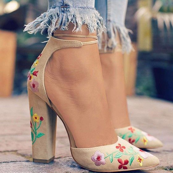 Apricot Point Toe Chunky Embroidery Fashion High-H…