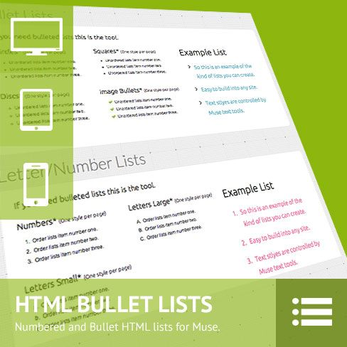 HTML Lists Builder Adobe Muse Widget - One of the items Muse lacks