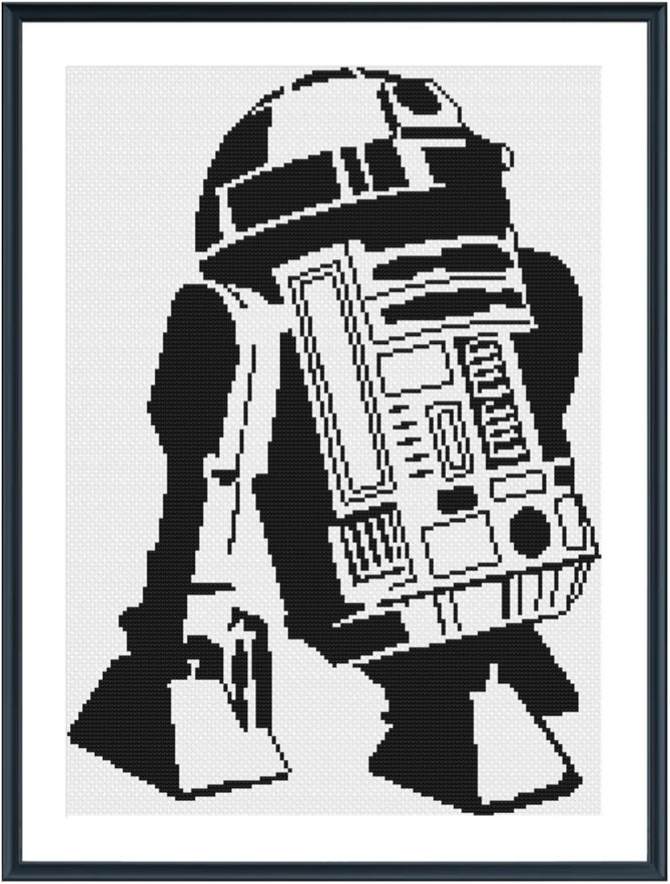 R2D2 Cross Stitch Pattern available for instant download via Etsy. When completed this pattern is 133 x 186 stitches.  Get yours by instant download to the e-mail address used on your Etsy account after check out. This is a digital download pattern created by Cecilia Espinoza. The file is a PDF, that also includes DMC color thread numbers shown in the pictures above.  You will need 1 DMC color  You will need Adobe Acrobat PDF Reader to view the pattern (available for free download here…