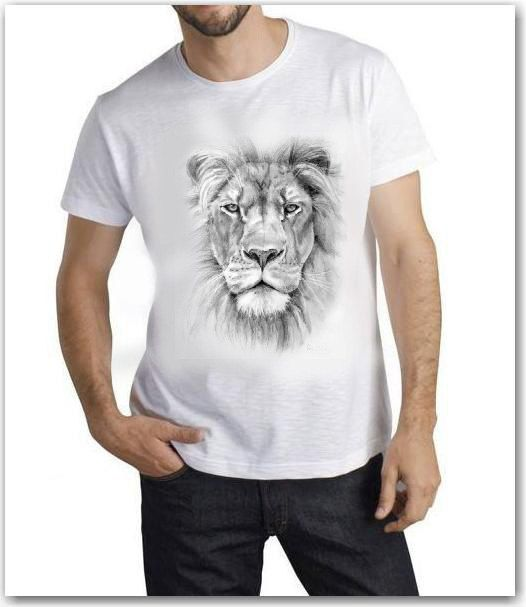 Lion the King T-Shirt, Hand pressed in Europe by TShirtpanic Printed on Sols MISS Short Sleeve Fine Jersey 100% Cotton All Sizes, White