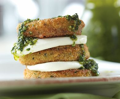 Fried Green Tomato Caprese with Tre Stelle® Bocconcini Cheese #caprese #bocconcini