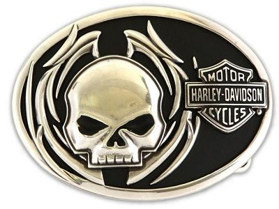 Harley- Davidson Men's Collector Belt Buckle Skull Fire Motorcycle