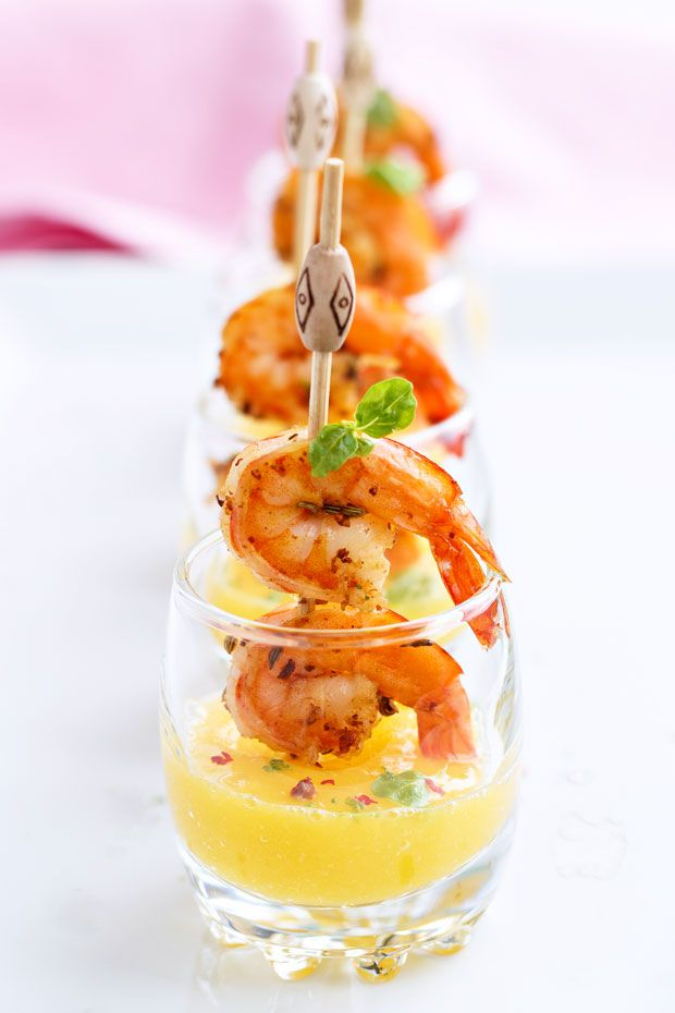 These grilled shrimp and mango puree shooters are easily prepared ahead and chilled, making them perfect Spring, Summer and anytime party favorites.