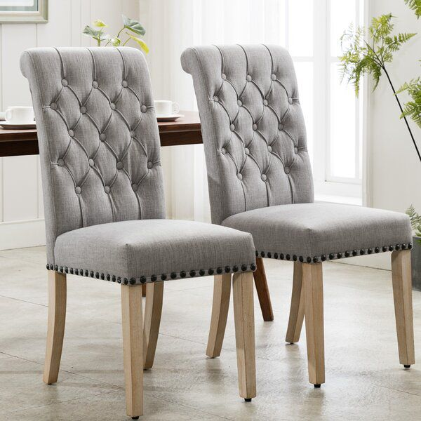 Fatima Tufted Linen Upholstered Parsons Chair Parsons Chairs Chair Chair Upholstery