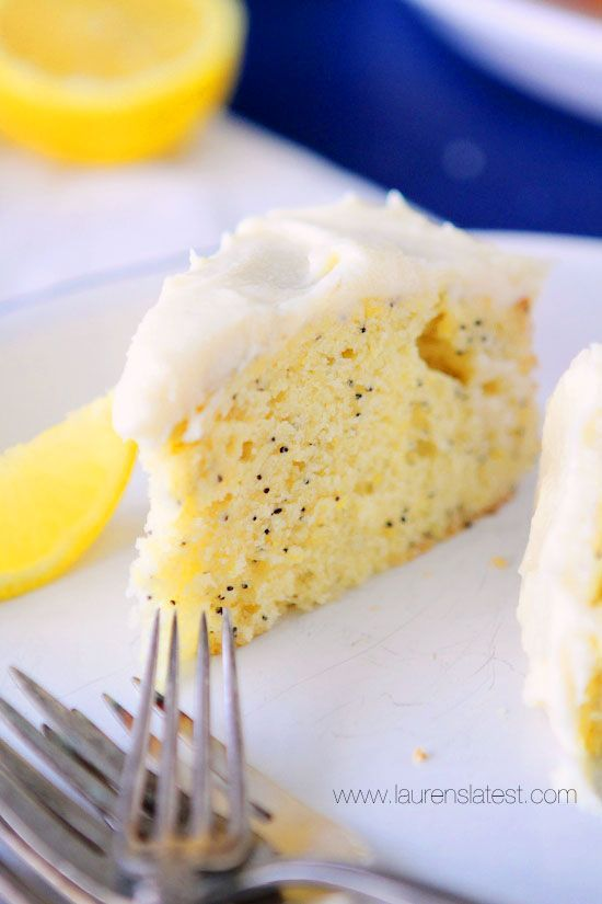 Lemon Poppyseed Cake with Cream Cheese Frosting is light, moist, and full of bright citrus flavor!