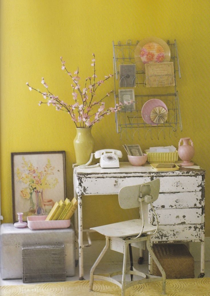 Yellow home office.
