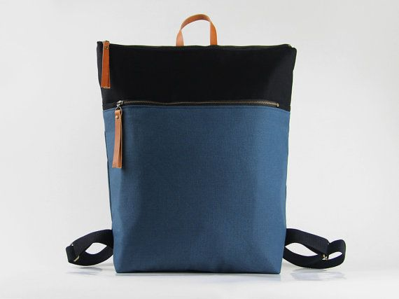 Unisex, Teal blue and black canvas Backpack, laptop backpack with zipper closure and front zipper pocket, Design by BagyBags