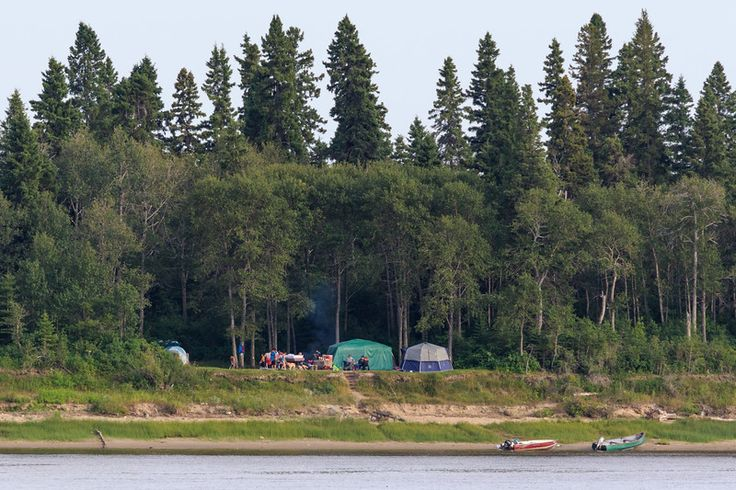 Camping at Tidewater Park on Charles Island in the Moose River at Moosonee, Ontario. 2017 August 3rd.