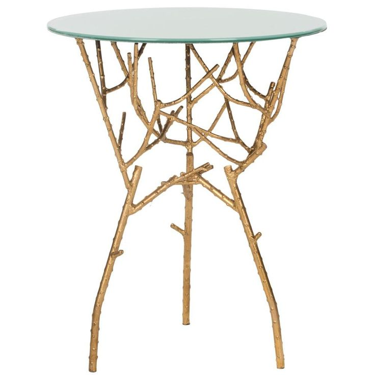 Tara Gold And White Glass Top End Table, Gold/White