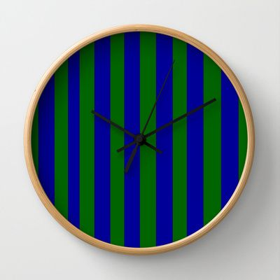 Green and Blue Stripes Wall Clock - $30.00 (3 different hand and frame colors)