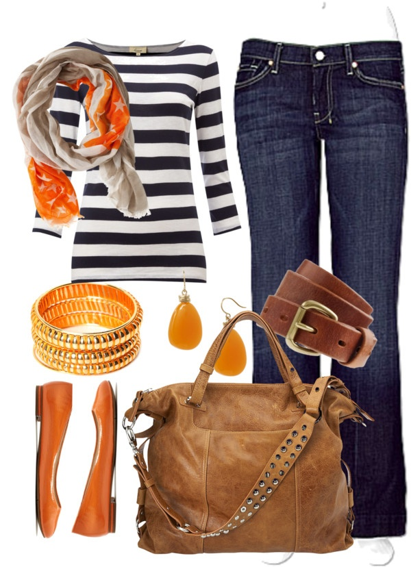 Orange accents with striped