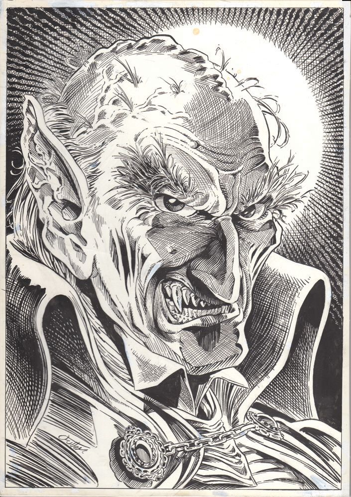 "49. Bruce Spaulding Fuller original vampire art. Pen and ink on illustration paper, 12"" x 17""."