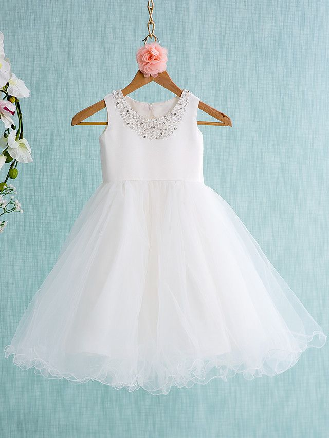 Lanting Bride ® Ball Gown Knee-length Flower Girl Dress - Satin / Tulle Sleeveless Jewel with - USD $53.99 ! HOT Product! A hot product at an incredible low price is now on sale! Come check it out along with other items like this. Get great discounts, earn Rewards and much more each time you shop with us!