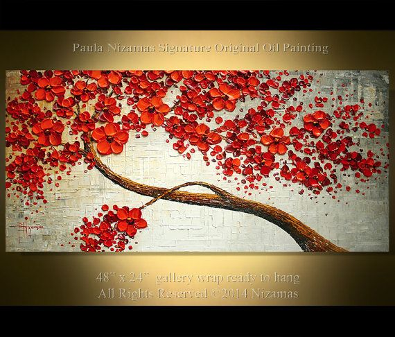 "Ready to ship ORIGINAL 48"" Abstract Contemporary Red Blooming Tree Painting Heavy Palette Knife by Paula"