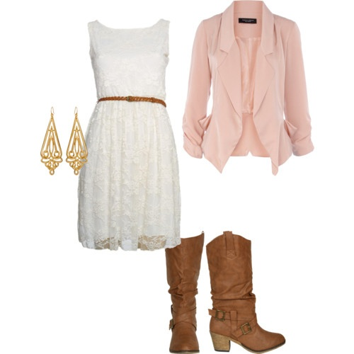 Sweet white dress & pink jacket, but replace those boots with real cowgirl boots. Oh how I wished I had money to dress cute :/