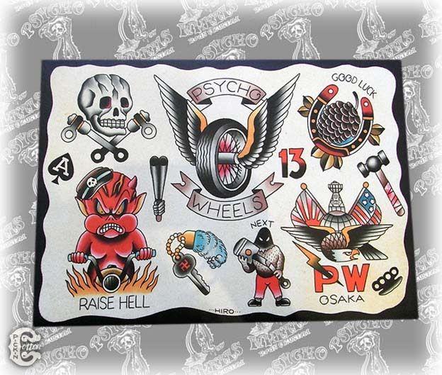 62 best biker skull images on pinterest skull patterns for Traditional motorcycle tattoo