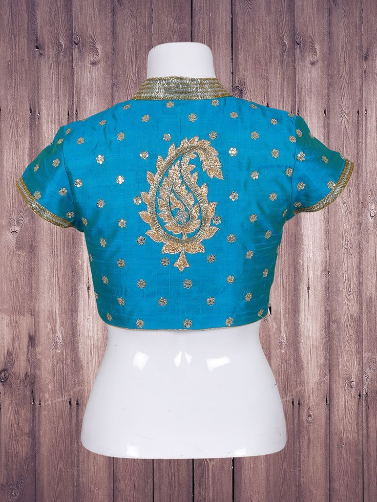 Shop Blue color in silk fabric ready made blouse online from G3fashion India. Brand - G3, Product code - G3-RB0494, Price - 4690, Color - Blue, Fabric - Silk,
